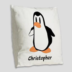 Personalized Penguin Design Burlap Throw Pillow