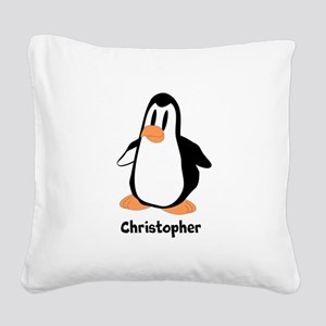 Personalized Penguin Design Square Canvas Pillow