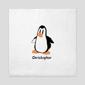 Personalized Penguin Design Queen Duvet