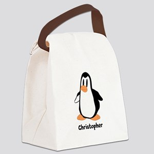 Personalized Penguin Design Canvas Lunch Bag