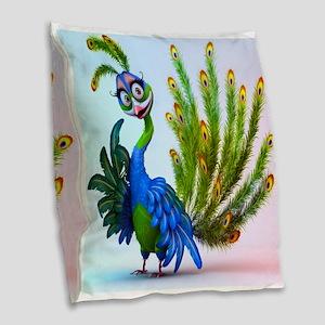 Prissy Peacock Burlap Throw Pillow