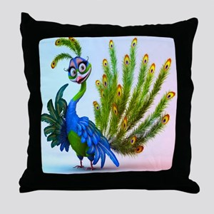 Prissy Peacock Throw Pillow