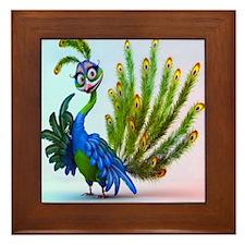 Prissy Peacock Framed Tile