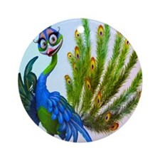 Prissy Peacock Ornament (Round)