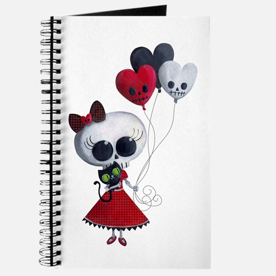 Cute Skeleton Girl with Spooky Balloons Journal