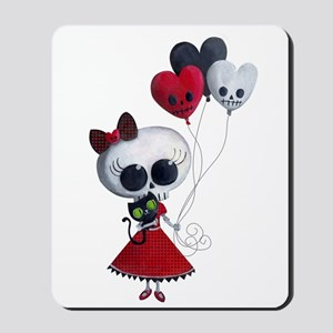 Cute Skeleton Girl with Spooky Balloons Mousepad