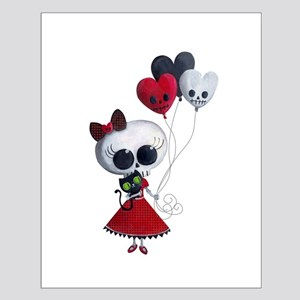Cute Skeleton Girl with Spooky Balloons Posters