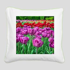 Tulip Field Square Canvas Pillow