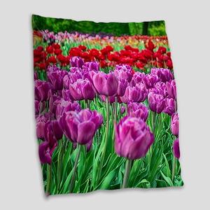 Tulip Field Burlap Throw Pillow
