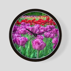 Tulip Field Wall Clock
