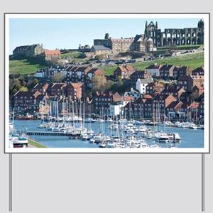 Whitby Upper Harbour and Abbey ruins Yard Sign