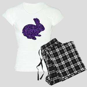 Purple Glitter Silhouette Easter Bunny Pajamas