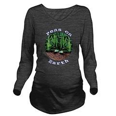 Peas On Earth Long Sleeve Maternity T-Shirt
