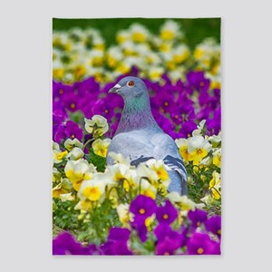 Pigeon and Pansies 5'x7'Area Rug