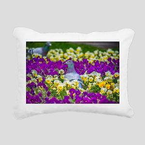 Pigeon and Pansies Rectangular Canvas Pillow