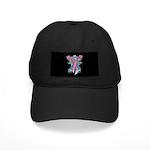 Pink Ribbon with Roses Black Cap