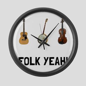 Folk Yeah Large Wall Clock
