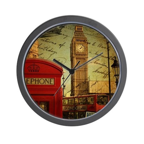 london landmark red telephone booth Wall Clock