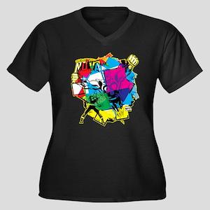 Color Burst Women's Plus Size V-Neck Dark T-Shirt