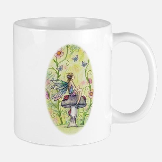 A Happy Place Flower Fairy and Ladybug Art Mugs