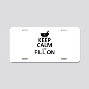 Keep Calm Fill On Aluminum License Plate