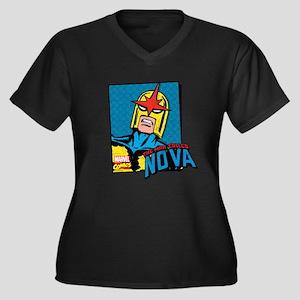 Nova Women's Plus Size V-Neck Dark T-Shirt