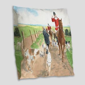 Foxhunt 3 Burlap Throw Pillow