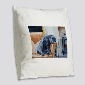 Sleeping Lab Burlap Throw Pillow