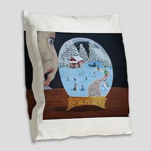 Snow Globe Burlap Throw Pillow