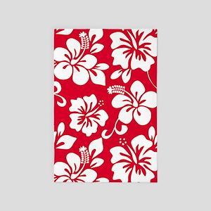 Red Hawaiian Hibiscus  4' x 6' Rug