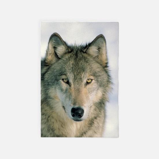 wolf face 4' x 6' Rug