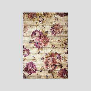 Vintage Romantic Floral Wood Pattern 4' x 6' Rug