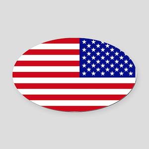 Reversed USA Flag Oval Car Magnet