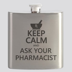 Keep Calm and Ask Your Pharmacist Flask