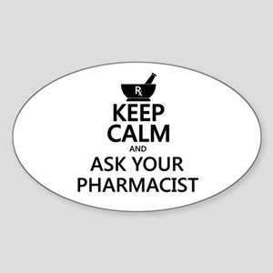 Keep Calm and Ask Your Pharmacist Sticker (Oval)