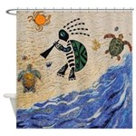 Kokopelli Turtle Shower Curtain