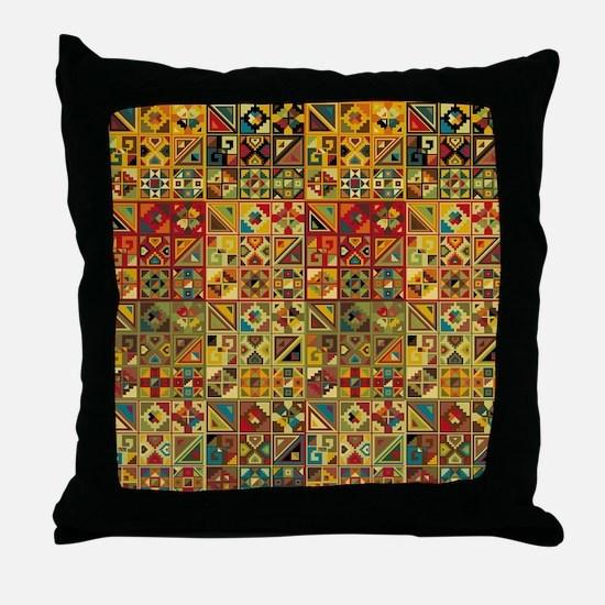 Colorful Tribal Aztec  Geometric  Sea Throw Pillow