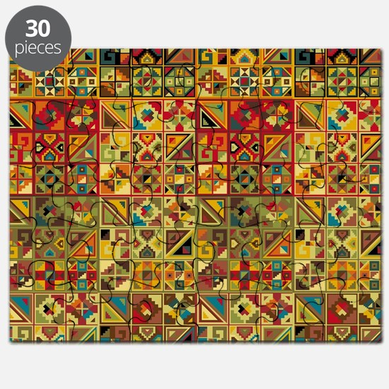 Colorful Tribal Aztec  Geometric  Seamless  Puzzle