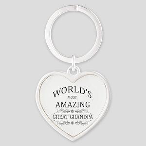 World's Most Amazing Great Grandpa Heart Keychain