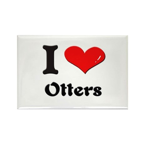 I love otters Rectangle Magnet