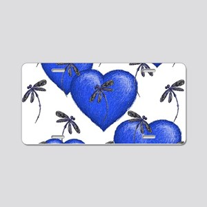 Love Hearts and Dragonflies Blue Aluminum License