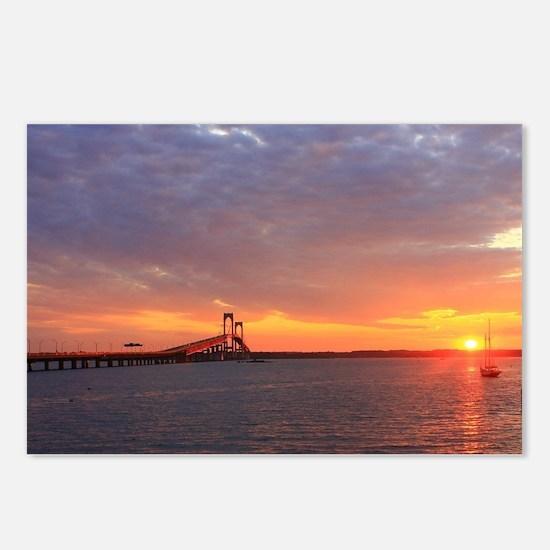 Newport Bridge Sunset Postcards (Package of 8)