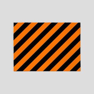 Orange and Black Stripes 5'x7'Area Rug