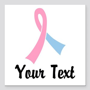 """Personalized Pink and Bl Square Car Magnet 3"""" x 3"""""""