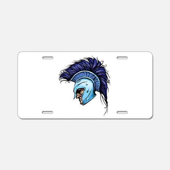 Blue Spartan Aluminum License Plate