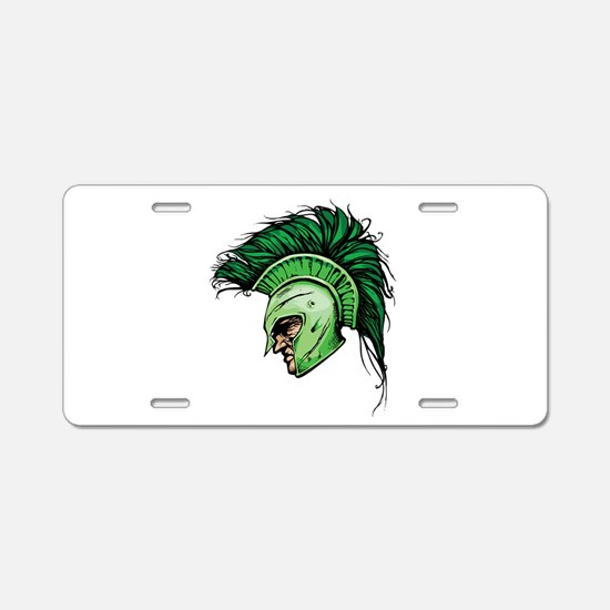 Green Spartan Aluminum License Plate