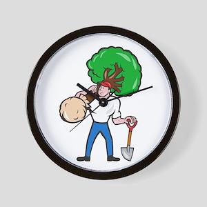 Gardener Arborist Carrying Tree Cartoon Wall Clock