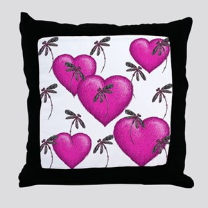Love Hearts and Dragonflies Pink Throw Pillow