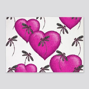 Love Hearts and Dragonflies Pink 5'x7'Area Rug