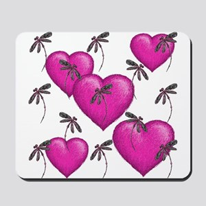 Love Hearts and Dragonflies Pink Mousepad
